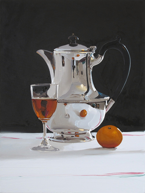 , 'Silver Coffee Pot With Wine and Mandarin,' 2018, Absolute Art Gallery