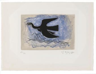 Oiseau noir sur fond bleu (Oiseau VIII)