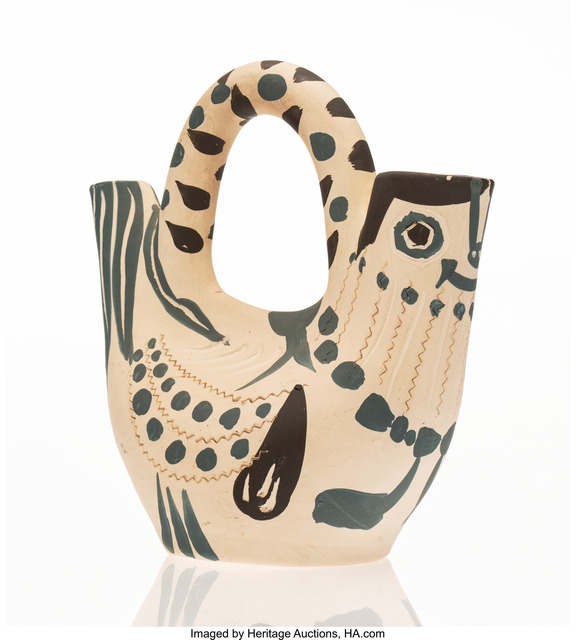 Pablo Picasso, 'Pichet espagnol en forme de poule', 1954, Other, White earthenware ceramic pitcher, painted in black and blue, Heritage Auctions