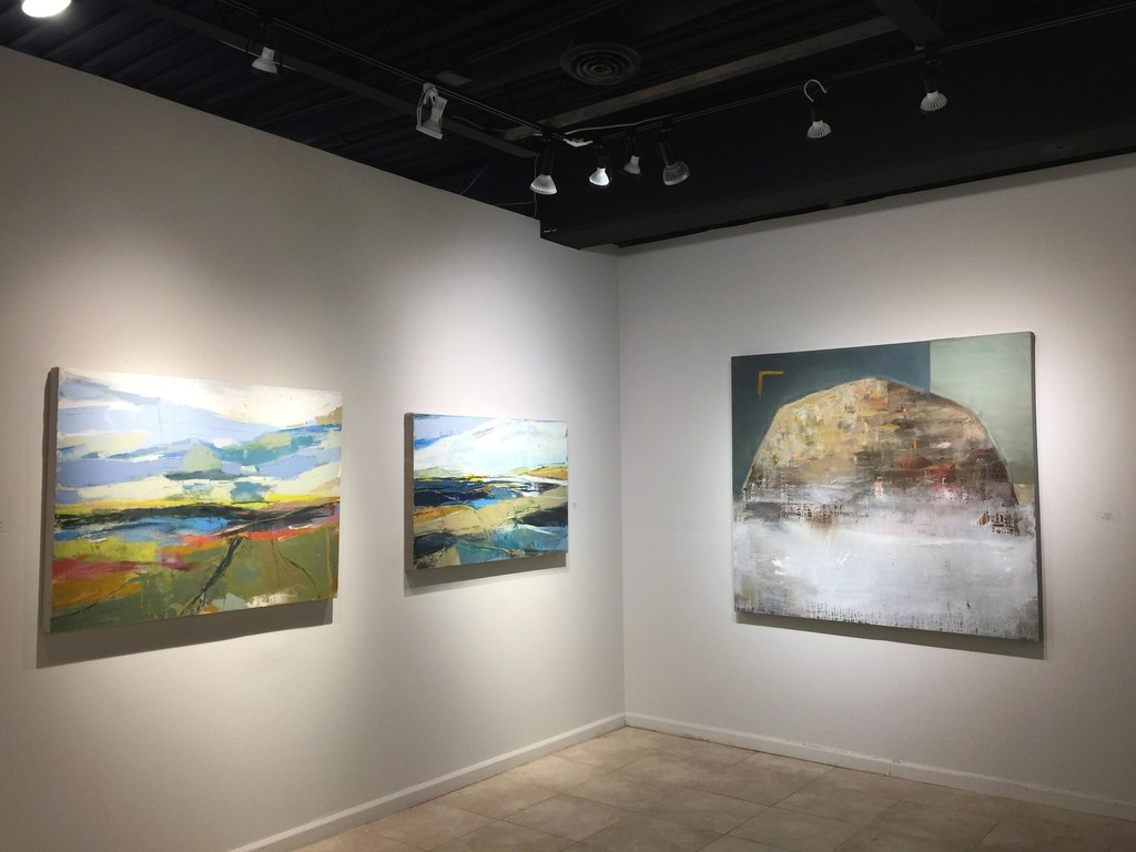 Signs of Spring exhibition (Left wall) Cathryn Miles, Continental Divde II, oil on linen, 36 x 48 inches; Cathryn Miles, Continuum, oil on linen, 30 x 48 inches; (Right wall) Sam Nejati, Divine Voices, oil on canvas, 60 x 60 inches