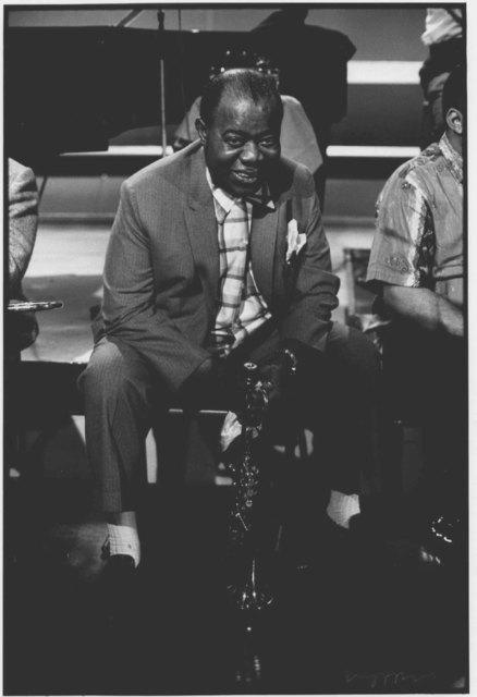 , 'Louis Armstrong, BBC TV Rehearsal, Shepherds Bush Theatre, London,' 1965, ElliottHalls