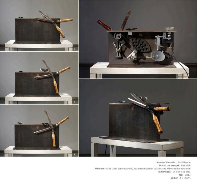 Sunil Gawde, 'Inshallah', 2011, Installation, Mild steel, stainless steel, readymade garden scissors, motorised mechanism, Double Square Gallery