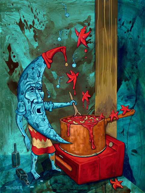 Jonathan Thunder, 'Jiibaakwe Giizis: The Cooking Moon Makes Hangover Mac', 2018, Painting, Acrylic on canvas, Joseph Nease Gallery