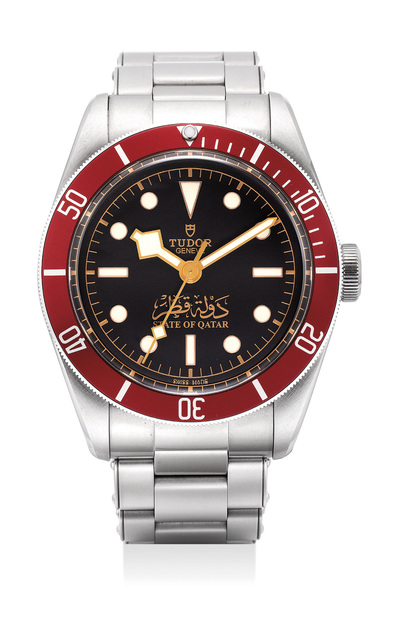 Tudor, 'A very rare stainless steel wristwatch with sweep center seconds and bracelet with gilt State of Qatar dial and guarantee and fitted presentation box', 2016, Phillips