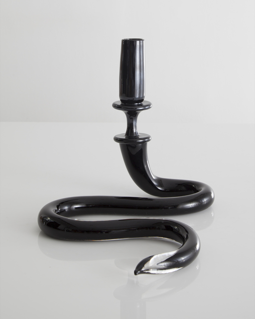 , 'Unique single serpentine light sculpture in black hand-blown glass. Designed and made by Jeff Zimmerman.,' 2014, R & Company