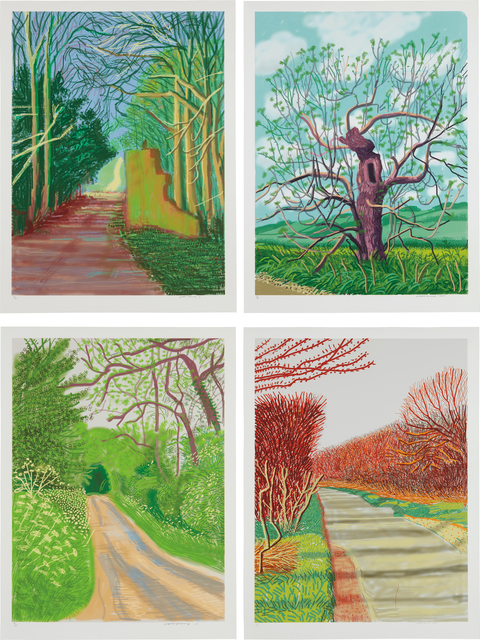 David Hockney, 'March 19; March 21; May 16; and May 18, from The Arrival of Spring in Woldgate, East Yorkshire in 2011 (twenty eleven)', 2011, Phillips