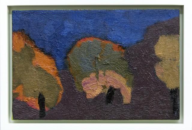 Jennifer Hornyak, 'Three Trees - small, green, orange, blue, purple landscape oil painting', 2019, Painting, Oil paint, linen, Oeno Gallery