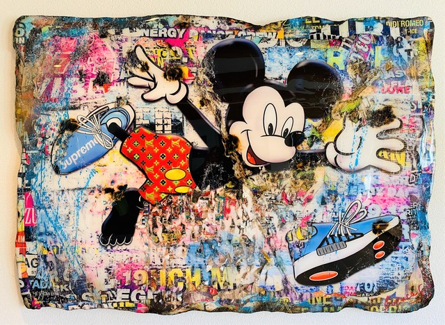 Adriano Cuencas, 'I Love my Supreme Sneakers', 2020, Painting, Collage & Mixed Media on cardboard, Samhart Gallery