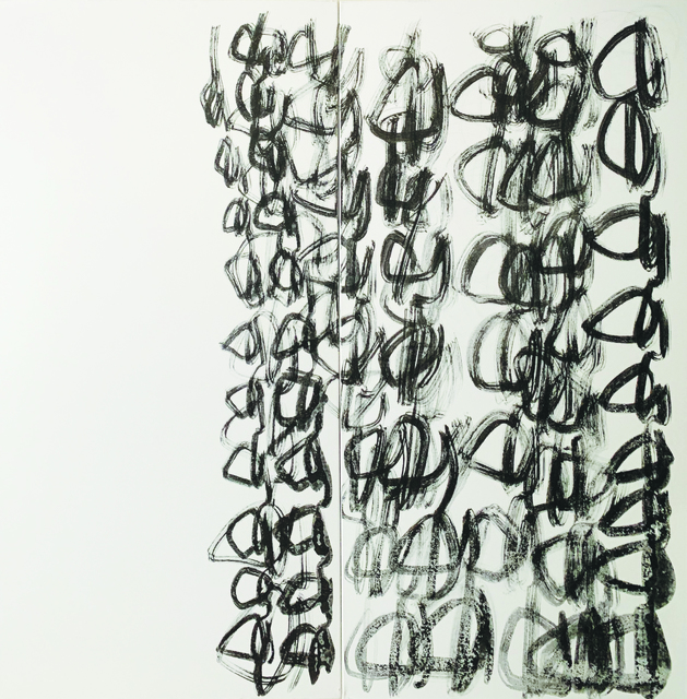 Masumi Sakagami, 'Message from Another Space ', 2019, Painting, Sumi Ink on Canvas, Walter Wickiser Gallery