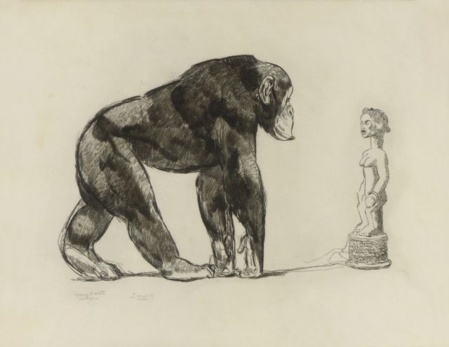 , 'Chimpazee in Front of Baoulé Statue,' ca. 1931, Galerie Marcilhac
