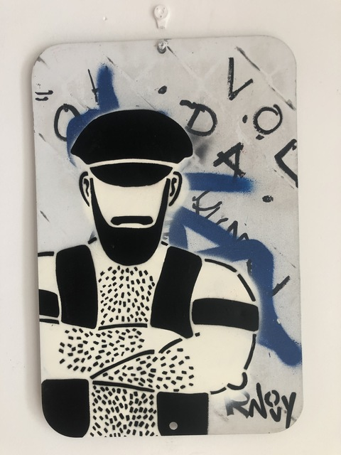 Jeremy Novy Leather Guy Stencil And Spray Paint On Metal Sign 2019 Available For Sale Artsy