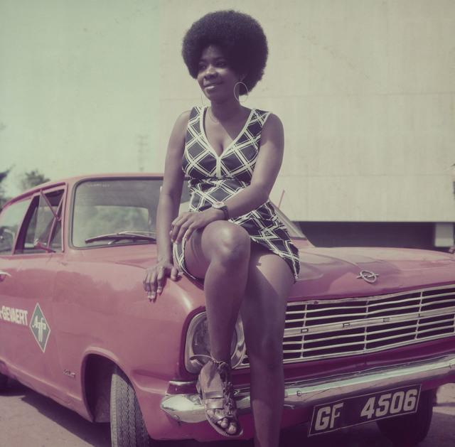 , 'Woman posing on James Barnor's car, Accra, 1970s,' 2018, Galerie Clémentine de la Féronnière