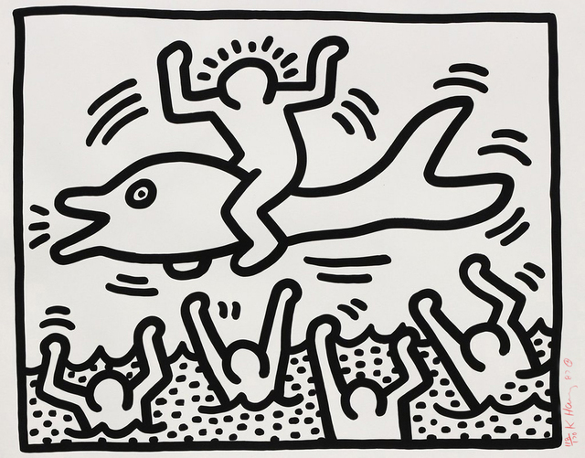 Keith Haring, 'Untitled (Man on Dolphin)', 1987, Rhodes