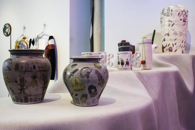 , 'Two jars, two pots, three mugs, one stool, Power Bunny with Planter, Commemorative Plate, and two Jars with Forged Spork,' 2014, Museum of Arts and Design