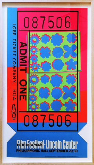 Andy Warhol, 'Lincoln Center Ticket - opaque acrylic signed edition (Feldman & Schellmann, II.19)', 1967, Print, Limited edition silkscreen, die-cut on opaque acrylic. signed and numbered by Andy Warhol from the edition of 200. Framed., Alpha 137 Gallery Gallery Auction