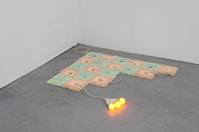 Dana Hemenway, 'Untitled (Rug Weave)', 2019, Sculpture, Wool, Tulle, extension cord, light bulbs, latch hook grid, Eleanor Harwood Gallery