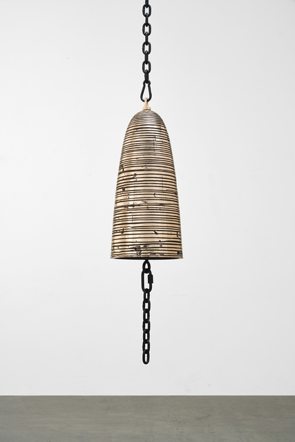 Davina Semo, 'Transmitter', 2019, Sculpture, Polished and patinated cast bronze bell, powder-coated chain and hardware, polyurethane clapper, Jessica Silverman