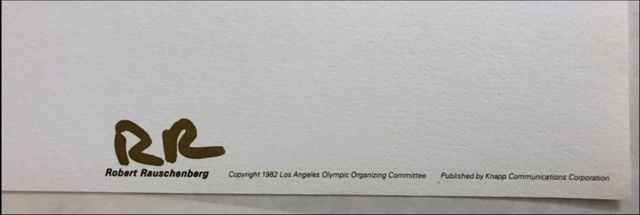 Robert Rauschenberg, 'Los Angeles 1984 Olympic Games (with signed Embossed Olympic Committee COA)', 1982, Print, Offset Lithograph on Parson's Diploma Paper. Unframed. With COA Hand Signed by Publisher on Embossed Letterhead. Unframed., Alpha 137 Gallery Gallery Auction