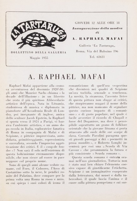Antonietta Raphael Mafai, 'Bollettino', Finarte
