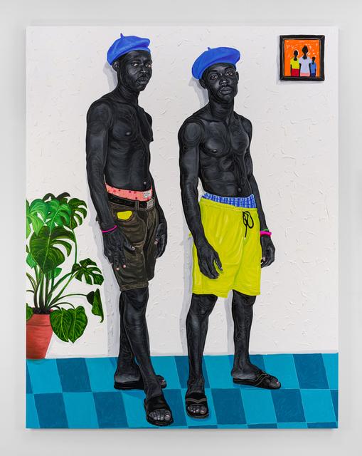 Otis Kwame Kye Quaicoe, 'Beret Boys', 2021, Painting, Oil on canvas, Roberts Projects