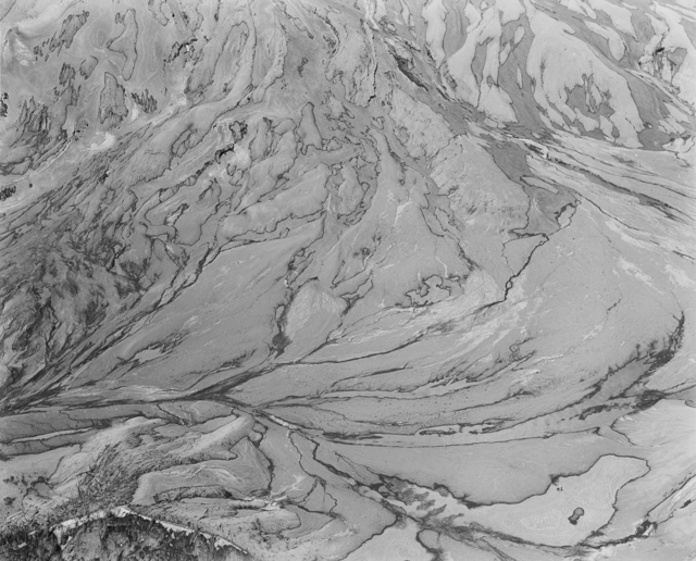, 'Aerial view: ash-covered snow, snow-covered ash. East flank of Mount St. Helens,' 1982, Etherton Gallery