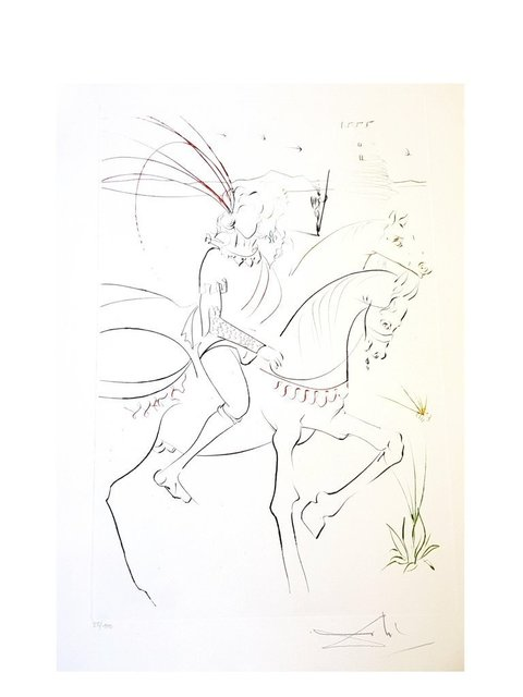 "Salvador Dalí, 'Original Etching ""Viviane and Lancelot"" by Salvador Dali', 1975, Galerie Philia"