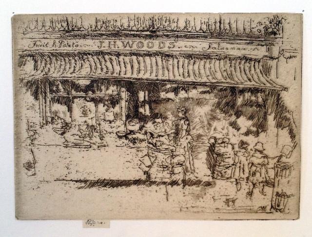 , ' J.H. Woods' Fruit Shop, Chelsea,' 1885, Harris Schrank Fine Prints