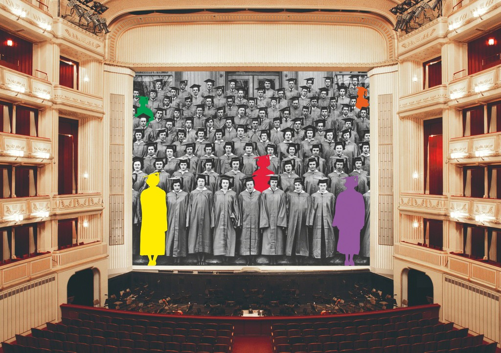 John Baldessari, Graduation, Safety Curtain 2017/2018, Vienna State Opera, museum in progress. Copyright © John Baldessari. Courtesy of the artist and Marian Goodman Gallery