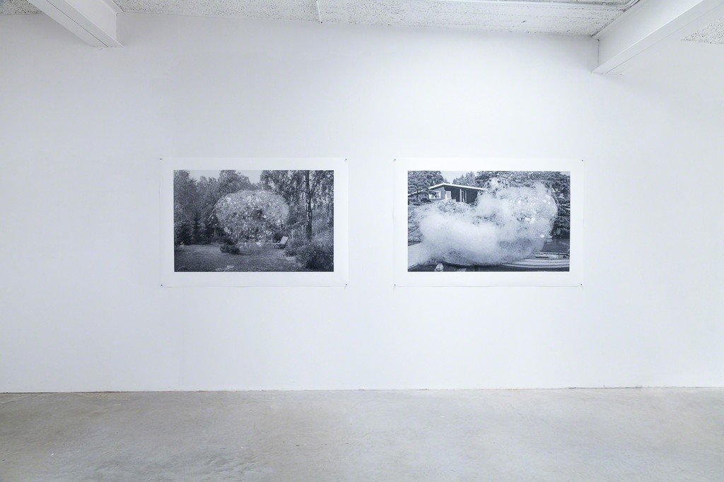 exhibition view: (left) Holliday homes series, On the banks of the river Havel, 2017 | archival pigment print on 220 gsm.Innova smooth Art paper, 103x149cm and (right) Holliday homes series,  On the shores of the Baltic sea, 2017 | archival pigment print on 220 gsm. Innova smooth Art paper,124x112cm