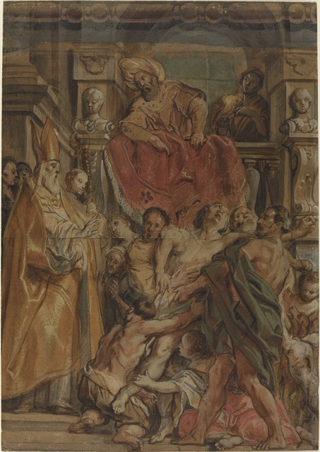 Jacob Jordaens, 'Saint Martin of Tours Healing the Servant of Tetrodius', ca. 1630, Drawing, Collage or other Work on Paper, Watercolor and gouache over black chalk on four joined sheets of laid paper, National Gallery of Art, Washington, D.C.