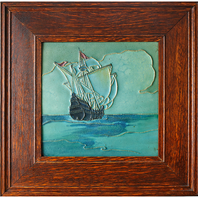 Rookwood Pottery, 'Rookwood Faience, Large Tile Decorated In Cuenca With Tall Ship (Framed), Cincinnati, OH', ca. 1910, Rago/Wright