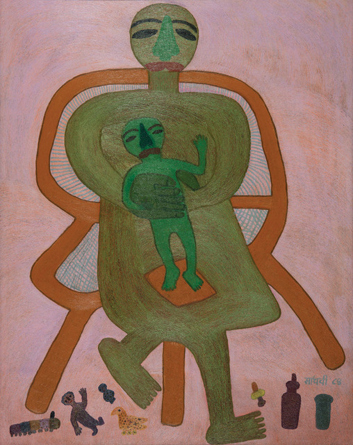 , 'Man sitting in a chair with son,' 1984, DAG