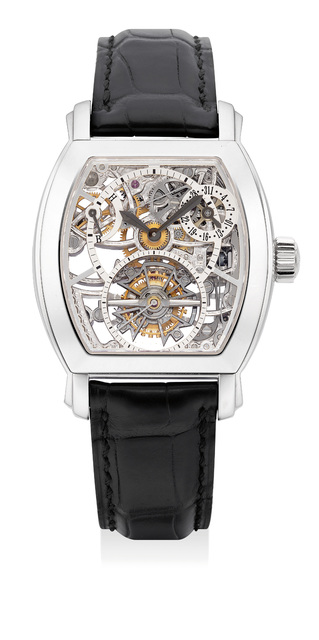 Vacheron & Constantin, 'An extremely fine and rare platinum skeletonized tourbillon wristwatch with date, power reserve indicator, certificate and box', 2008, Phillips
