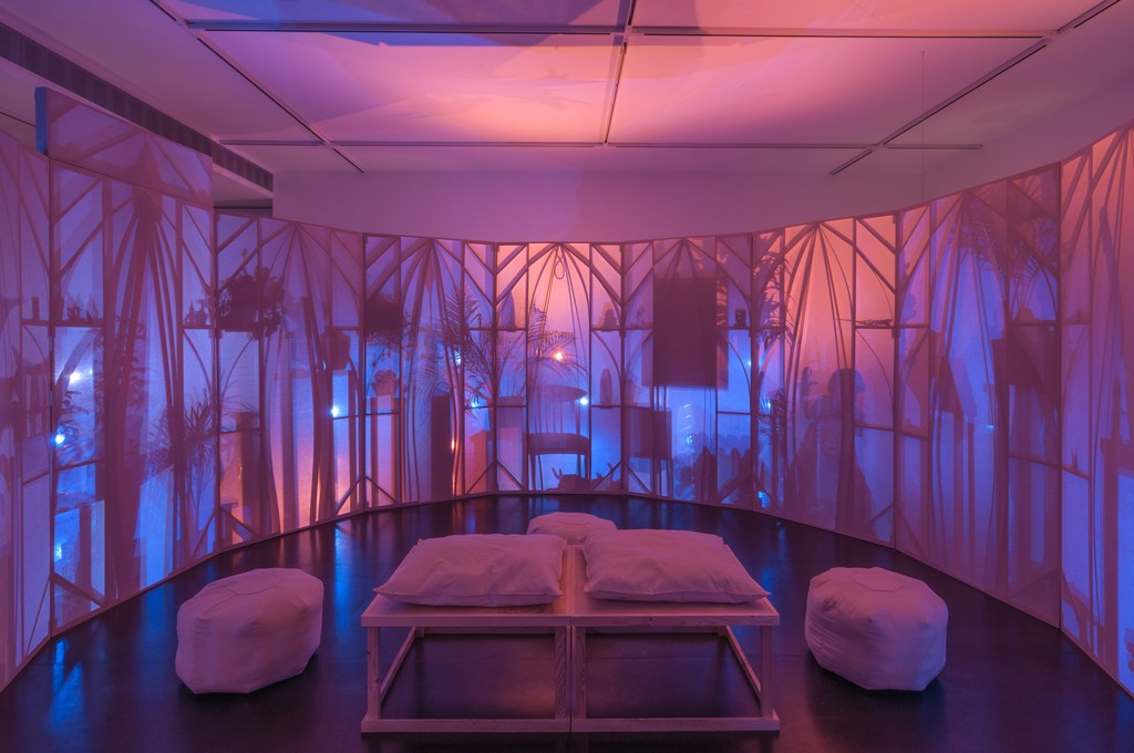 Interior of Srijon Chowdhury's Memory Theater, with pillows by Anna Margaret