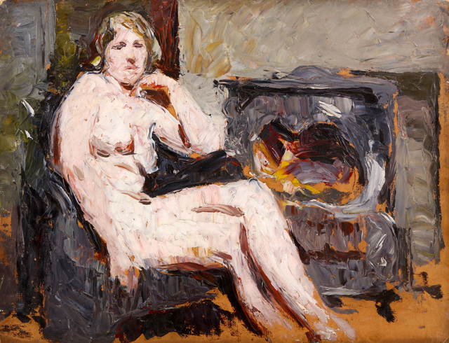 Ronald Ossory Dunlop, 'Nude seated by stove', Painting, Oil on board, unframed, Chiswick Auctions