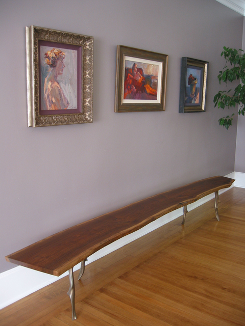 , 'Cast/Slab Bench, Walnut/Bronze,' , blankblank