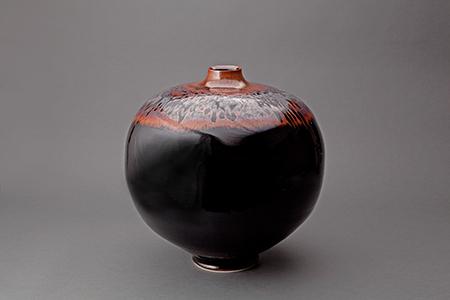 , 'Vase, mirror black glaze with partridge feathers,' , Pucker Gallery