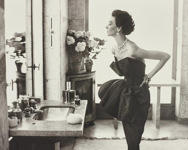 Richard Avedon, 'Dorian Leigh, Evening Dress by Piguet, Helena Rubinstein Apartment, Paris, August', 1949, Phillips