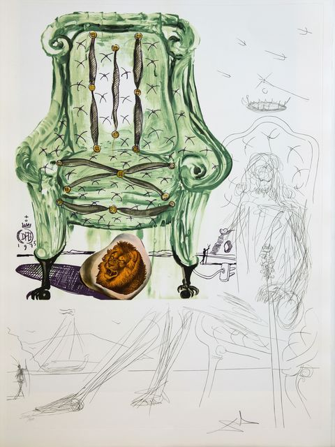Salvador Dalí, 'Breathing Preumatic Armchair', 1975, Drawing, Collage or other Work on Paper, Original Etching + Lithograph + Collage, Dali Paris
