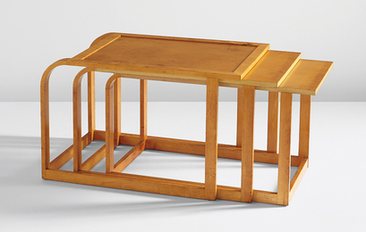 "Pipsan Saarinen Swanson, 'Rare complete set of three nesting tables, from the ""Flexible Home Arrangements"" line,' ca. 1940, Phillips: Design"
