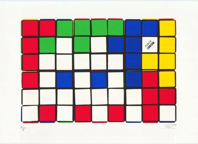 Invader, 'Rubik - Six Cubes (Yellow)', 2010, Print, Screenprint on paper, Taglialatella Galleries