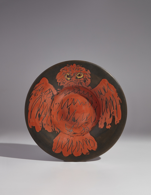 Pablo Picasso, 'Red owl on black ground (Hibou rouge sur fond noir)', 1957, Phillips