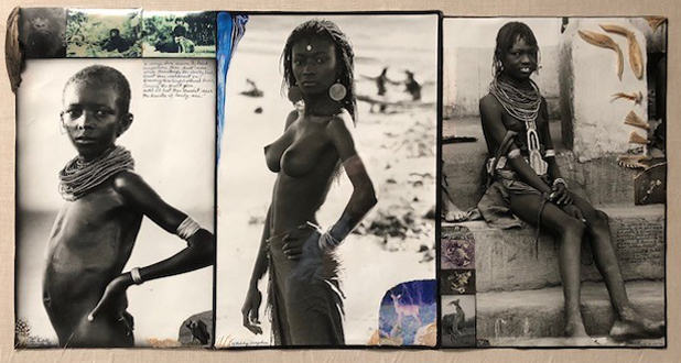Peter Beard, '1960's Lake Rudolf + Lodwar', 1960's, Photography, Silver Gelatin Photograph, Ink, Feather & Animal Bones, Fahey/Klein Gallery