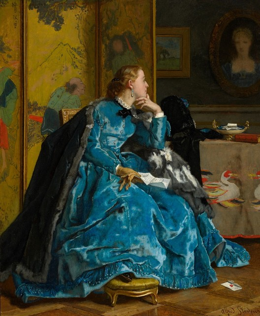 Alfred Stevens, 'A Duchess (The Blue Dress)', ca. 1866, Painting, Oil on panel, Clark Art Institute