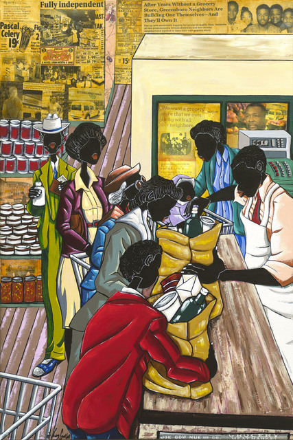 Leroy Campbell, 'Grocery Store', 2018, Painting, Mixed Medium Collage on Canvas, Richard Beavers Gallery