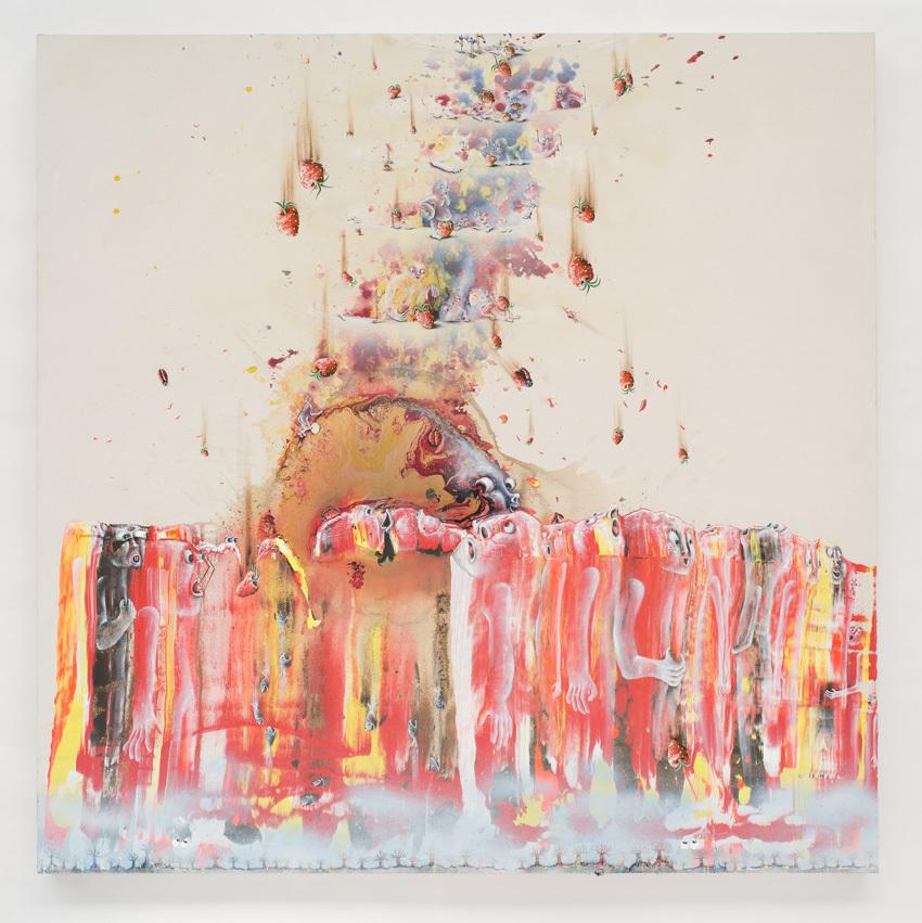 Marlène Mocquet - L'élévation de l'hier de mat 2013 Acrylic painting, cold enamel, glitter bomb, aerosol and oil on canvas