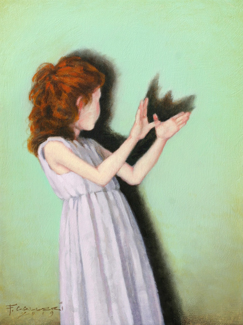 """Fred Calleri, '""""Wings"""" Oil painting of red headed girl with a green background making shadow butterfly with hands', 2019, Eisenhauer Gallery"""