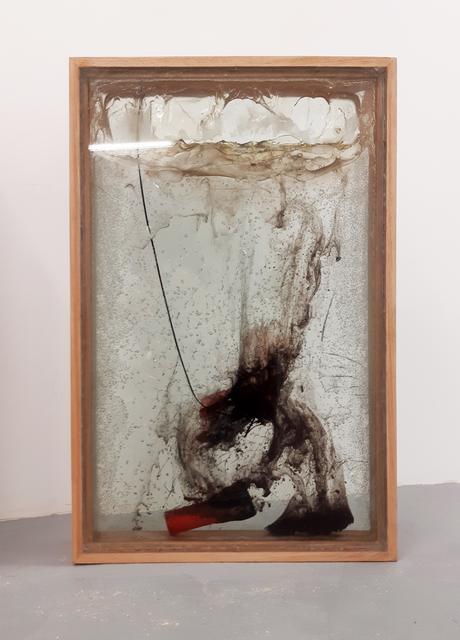 , 'Feux d'artifice, gel de pétrole dégazé cinquante degré, combustion incomplète, verre feuilleté, frêne,' 2018, In Situ - Fabienne Leclerc