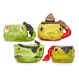 """Four Frog Tobiis mugs, California, 1970: """"The Suicide,"""" """"The Pirate,"""" """"The Mountie,"""" """"The Pirate"""""""