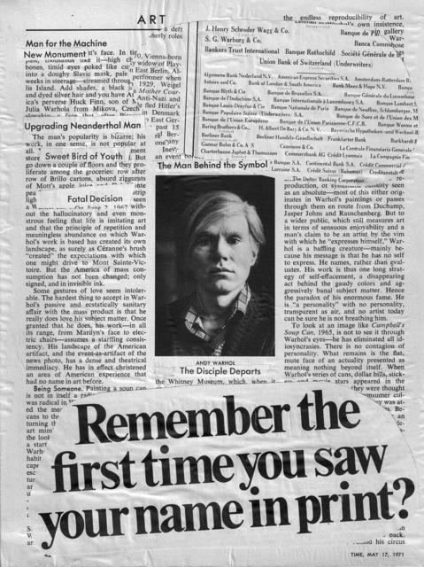 , 'Your name in print,' 1971, Baró Galeria
